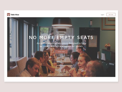 Table Wow home page #1 jobs to be done web design ui reservation restaurant
