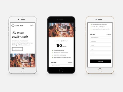 Table Wow Mobile homepage restaurants bw typography ui mobile design web design