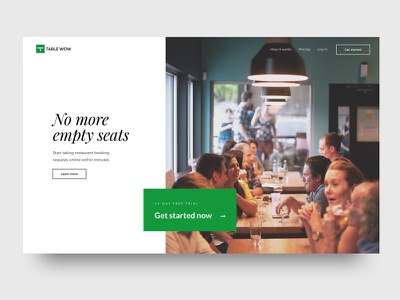 Table Wow - Final homepage reservation booking restaurant web design ui design