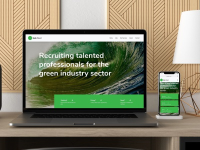 Gaia Talent recruitment agency homepage green energy green responsive web design web design recruitment recruitment agency