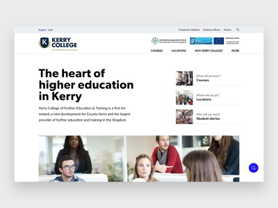 College homepage ui hero unit education website education web design website