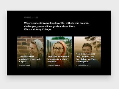 Student stories testimonials education website ui students college education web design