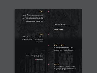 Historic Timeline tourism cultural ireland historical education website education history dark theme dark ui web design timeline