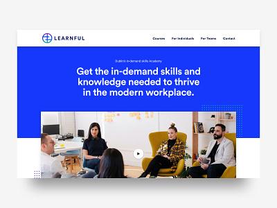 Learnful homepage hero unit educational education website education web design