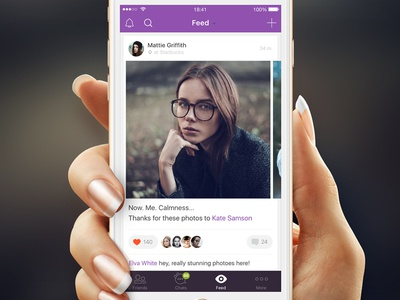 Activity Feed — Wommie [iOS App] women slide comment like photo card ui ux woman news activity feed