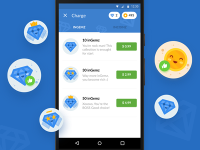 Inchatz Charge Screen — Chat [Android App] mobile ui app coin gem material tabs shop illustration icons badges charging