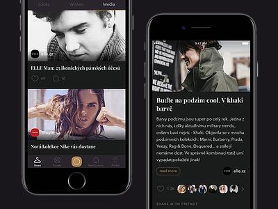 Stylisto — Media feed [iOS app] elle style article mobile media ios fashion app iphone ux ui