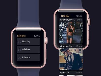 Stylisto — Watch App [watchOS app] wish nearby inspiration style ux ui fashion apple watch