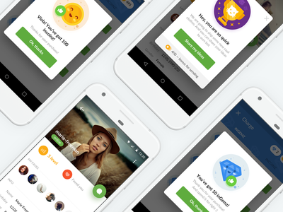 Inchats Screens cup gems ui ux gamification material mobile app popup messenger chat profile