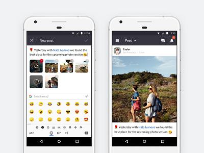 Barbara — Create Post [Android App] compose material ui ux mobile emoji photo post android app
