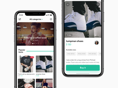 Early concept filters card feed e-commerce category item instagram mobile app ios