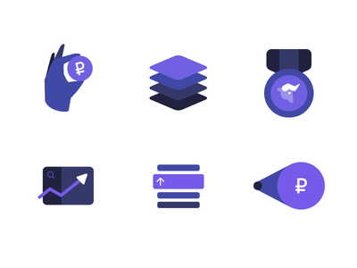 Icons for one project figma graph hand layers up growth award bull icons icon