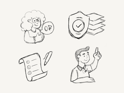 Simple line illustrations orref free glasses point protection thumb up privacy checkmark woman man lines line illustration