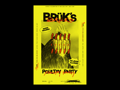 BRÜK'S POULTRY PARTY film grain illustration typography poster design poster adobe illustrator design