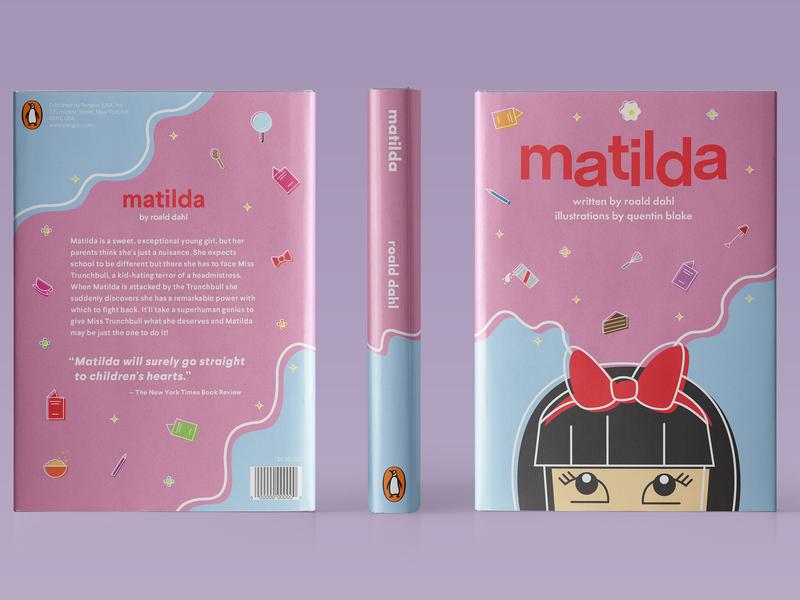 Matilda roald dahl matilda colors flat illustration book cover adobe illustrator vector illustration design
