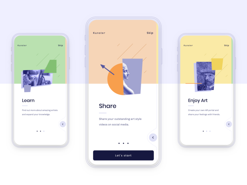 Kunster AR App - Onboarding visual art product design onboarding ui machinelearning augmentedreality ar art ios app user interface mobile app ux ui design interface