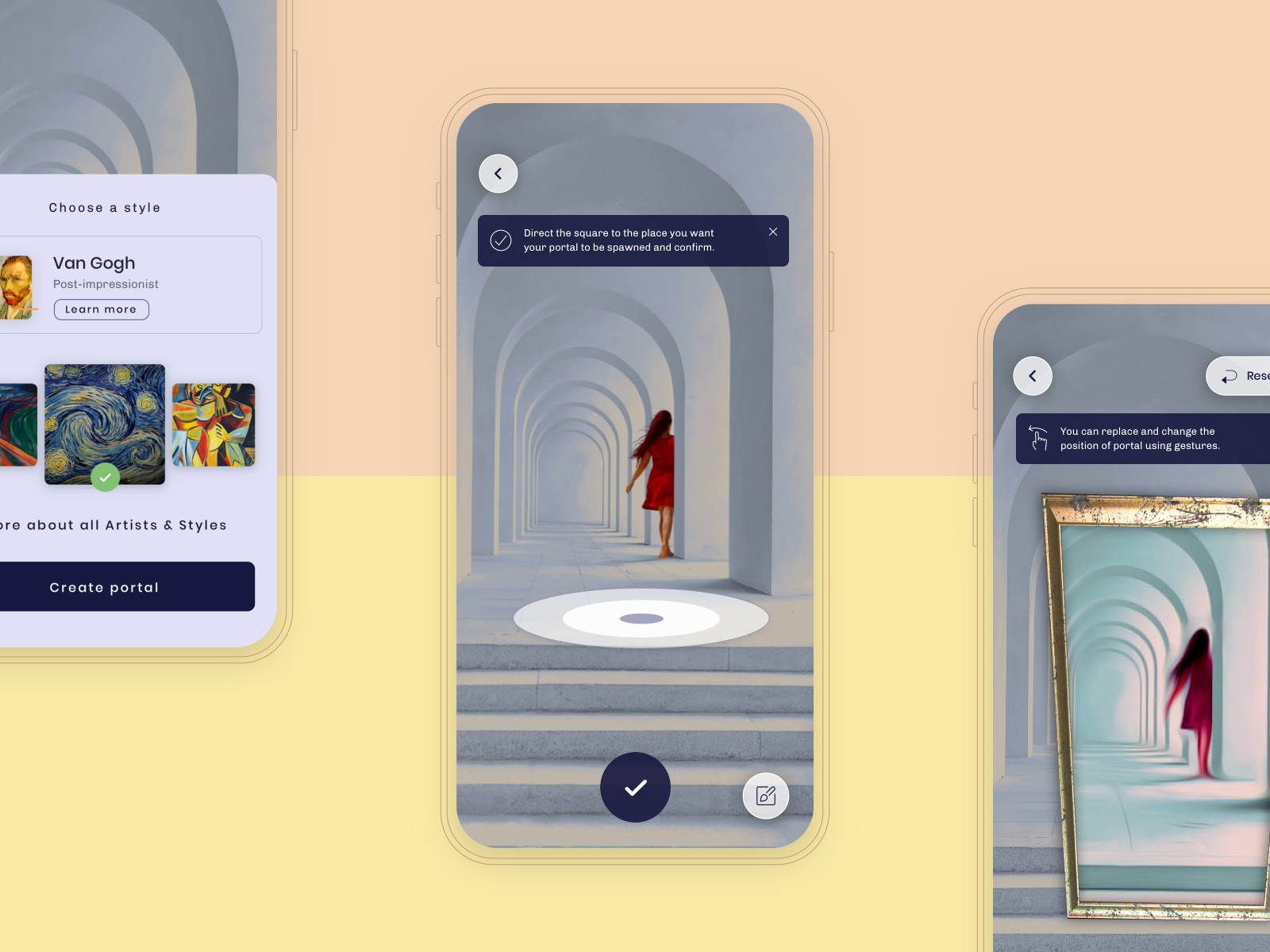 Kunster AR App - portal creation by