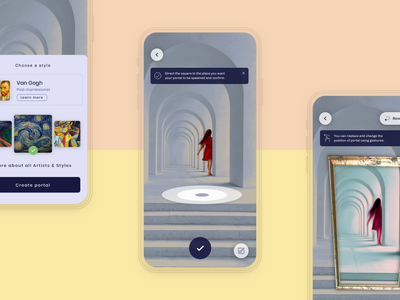 Kunster AR App - portal creation artists design visual design visual art art ios app design user interface minimal ux ui interface machine learning augmented reality product design mobile app
