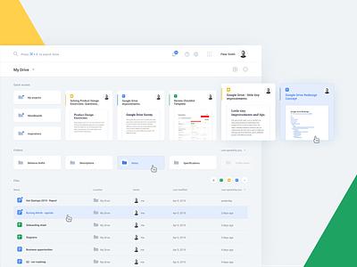 Google Drive Redesign Concept redesign dashboard minimalistic google drive web app web design product design interface ux ui