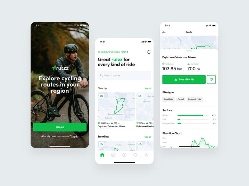 Cycling Routes - App ux design ui design routes cycling app map ios mobile design mobile app design app ux ui