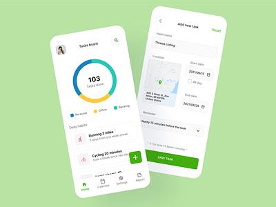Task & Habit App mobile app design figma minimal mobile