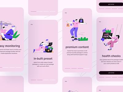 Onboarding concept for package bundler packagebundlgerapp pink walkthrough onboarding ui mobile app design figma design minimal