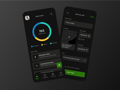 Task & habit app in dark mode taskandhabitapp habitapp taskapp darkmode mobile app design mobile figma design minimal