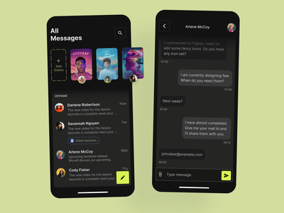 Messaging app darktheme darkmode messagingconcept visualdesign app neon messagingapp ui mobile app design mobile design minimal figma