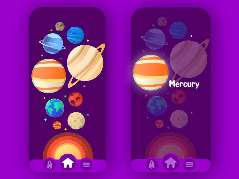 Space App for Kids app flatdesign mercury planets ux ui uiux