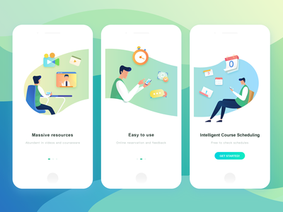 Loading Pages Of Medic Tutor (Tutee Client) tutor loading page vedio schedules man massive resources intelligent course scheduling graphic rebound design easy to use courseware colors clock check calendar course ui illustration app