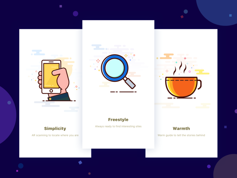 Loading Pages Of Travel App warmth warm ui travel app stars simplicity mobile phone magnifier loading page illustration freestyle cup colors app