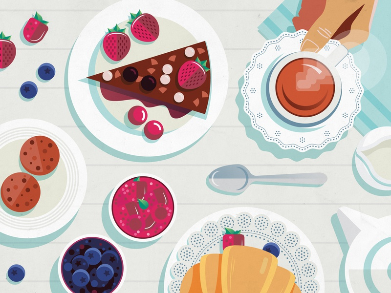 A Sunday morning situation. cakes pastry tea flatlays vector food illustration