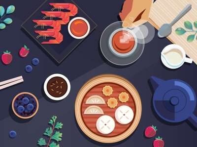 Your Favorite Asian Cuisine table cafe restaurant asian oriental japanese food chinese food teapot tea unilever shrimp dimsum flatlays food vector illustration