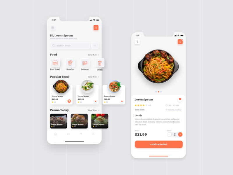Food App UI Kit shopping ui ux ux design ui design food find food clean ui clean ui app app mobile app mobile