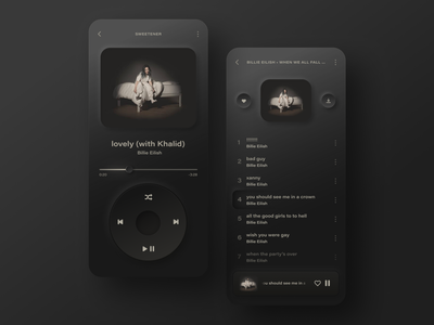 Music Player App Concept – Dark Mode design dark ui dark mode dark ux uidesign ui neomorphism music player music app ipod interface app