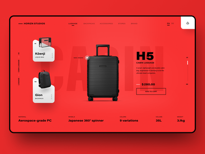 Luggage Shop Product Page mint product page shop red product luggage ecommerce commerce design website web ui design uidesign ux ui interface