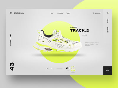 Sneaker Website Product Page store minimalist grey sneaker website web ux ui design uidesign ui yellow neon shop product page product shoe interface design ecommerce commerce