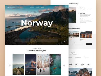 Travel Norway Website scandinavia norway view booking mountains travel website web ui design uidesign ux ui interface design
