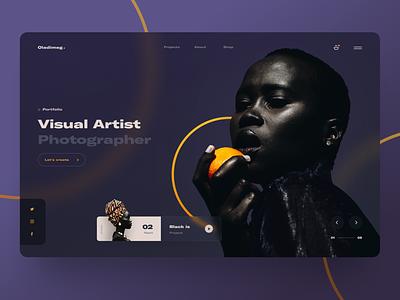 Photographer Portfolio Website dark ui purple glassmorphism glass portfolio photographer photography orange dark website web ui design uidesign ux ui interface design