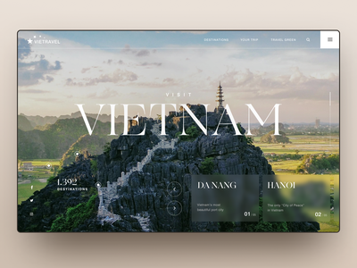 Travel Vietnam Website travel agency traveling typography asia temple mountain vietnam travel glass interface design website web ui design uidesign ux ui