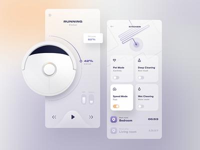 Smart Home App progress purple map robot vacuum cleaner vacuum iot app iot smarthome app glass ui design uidesign ux design ui interface