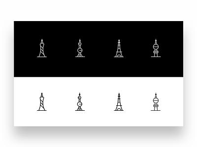 一组城市icons 向量 品牌 商标 图标 插图 应用 设计
