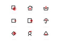 一组简约线性icons