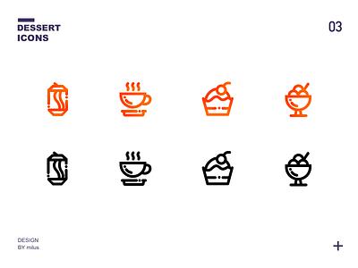 一组甜品icons 应用 活版印刷 品牌 向量 卷筒纸 图标 商标 ux 插图 设计