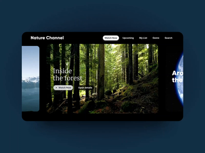 Nature Channel Streaming App Concept dark tv ux video netflix streaming trendy design app animation clean interface ui inspiration