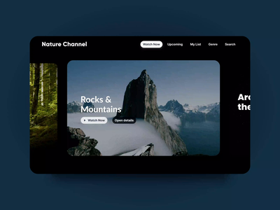 Nature Channel Streaming App Concept — Content Preview design 2021 stream tv video film netflix streaming cinema ux trendy app clean interface inspiration animation ui