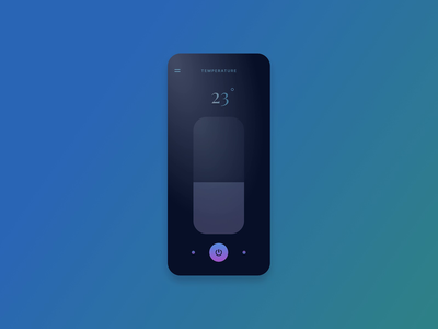 Simple Smart Home App — Temperature Screen animation device smart devices smart home dark ui temperature thermostat home smart iot ux trendy design app clean interface ui inspiration