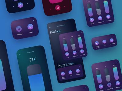 Simple Smart Home App — Widgets dark ui connected mobile widgets smart home iot ux design app clean interface inspiration ui