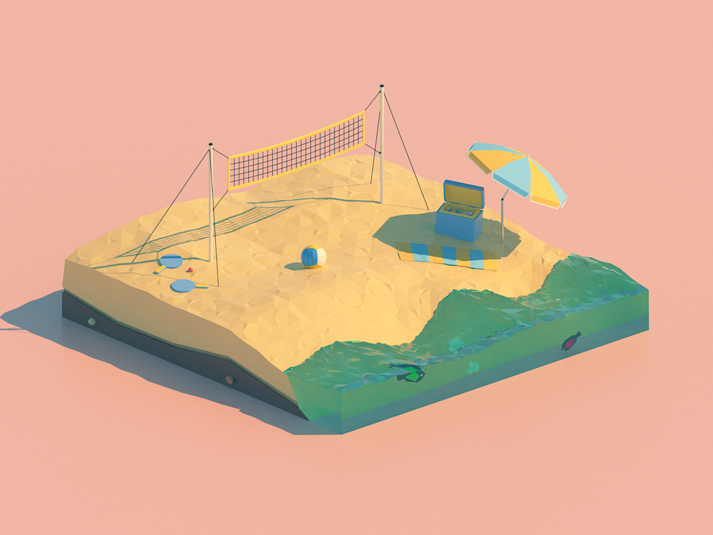 Beach Volley beach party ocean season volley beach minimalist illustration lowpoly isometric 3d