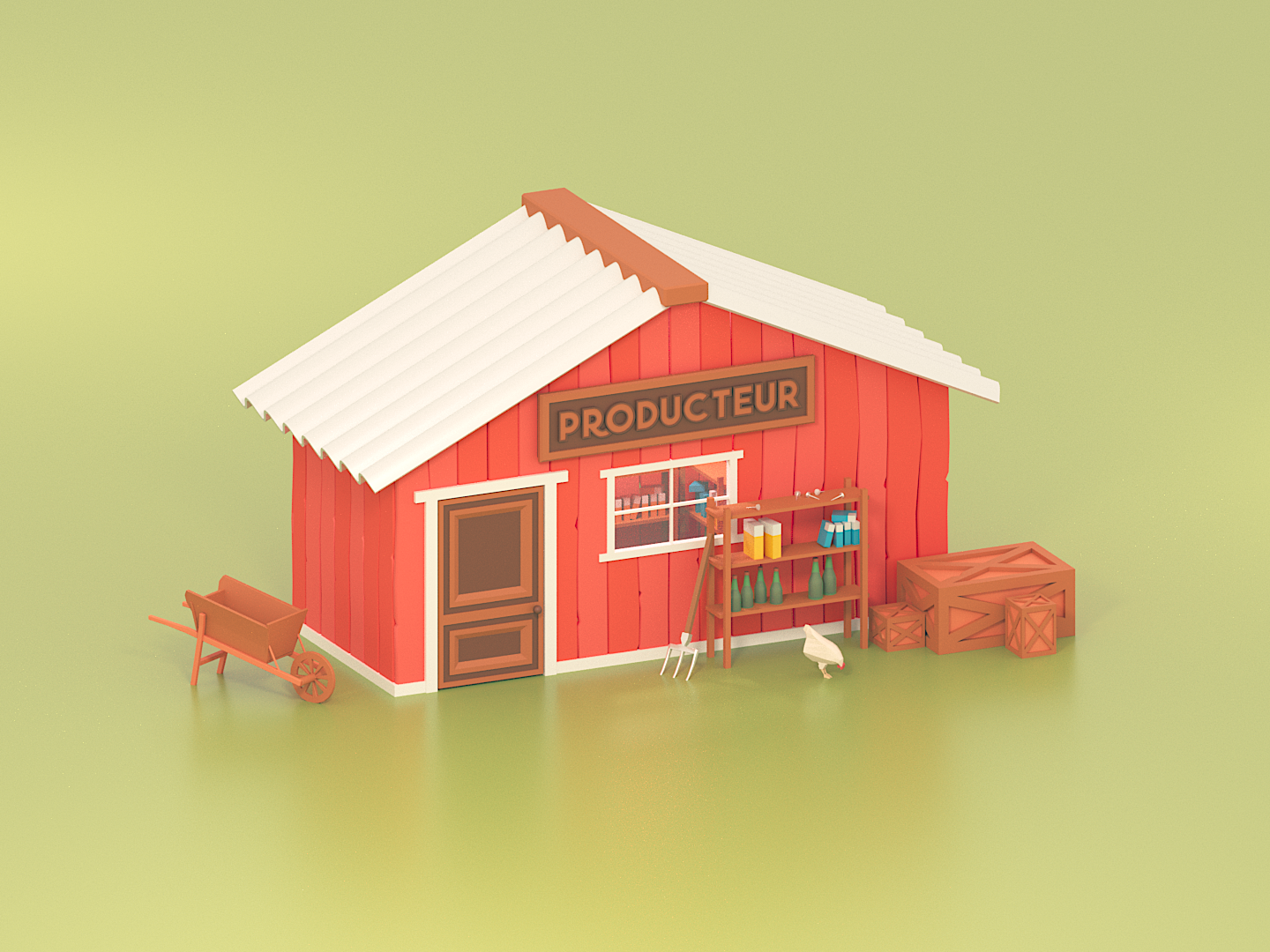 Farmer Store farm shop store cartoon architecture lowpolyart 3dsmax minimalist illustration lowpoly isometric 3d